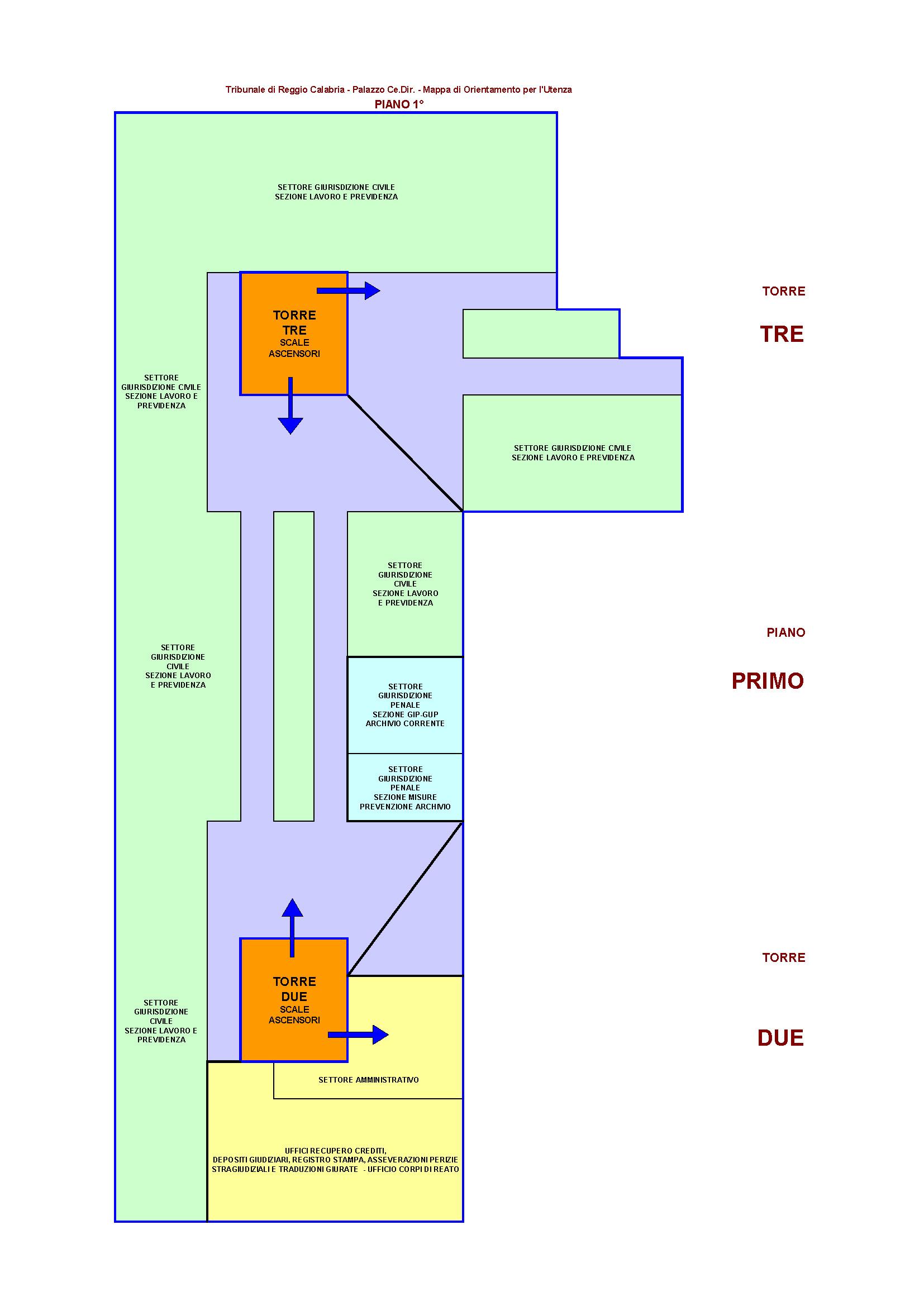 Dislocazione uffici cancellerie aule sito del for Creatore del piano del sito